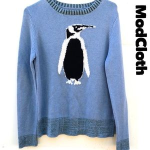 Modcloth Small Blue Penguin Pullover Sweater👇🏼